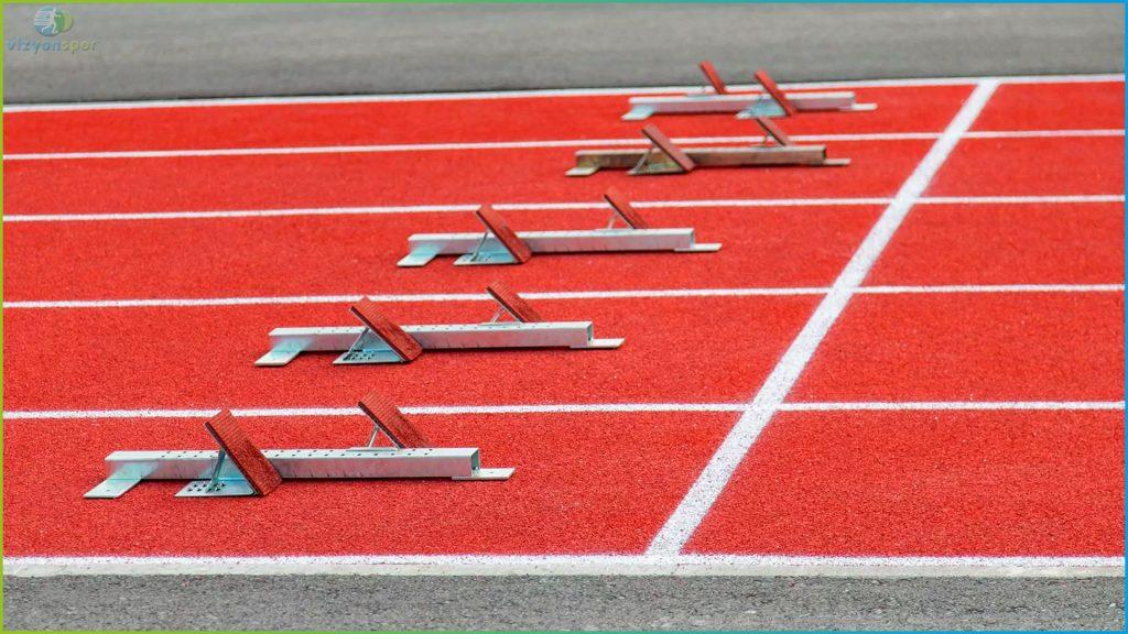 atletizm pisti malzemeleri, atletizm koşu başlangıç noktası, atletizm koşu çıkışı,